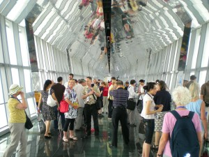Conference participants on the observation deck of the World Financial Center tower